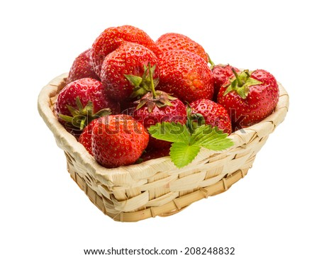 Strawberry in the bowl with leaf