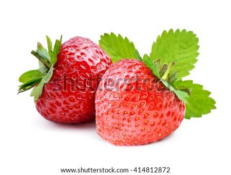 Strawberry isolated on white background. - stock photo