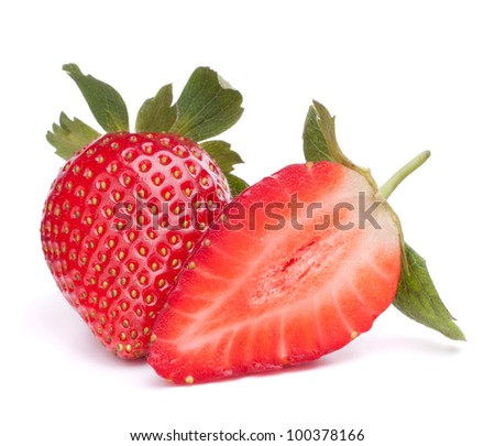 Strawberry isolated on white background cutout - stock photo