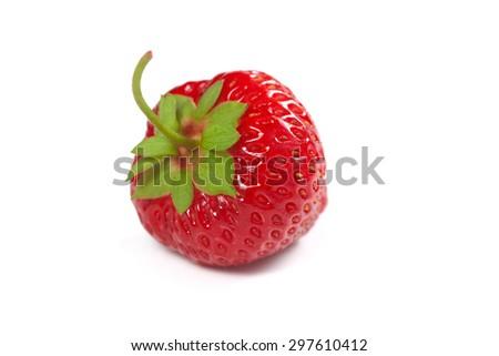 Strawberry isolated on white background, shallow focus - stock photo