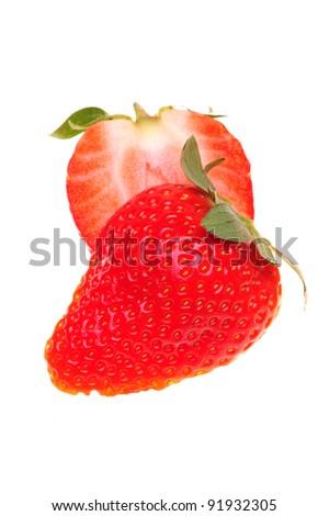 strawberry isolated over white background - stock photo