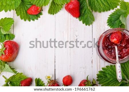 Strawberry jam. Frame. - stock photo
