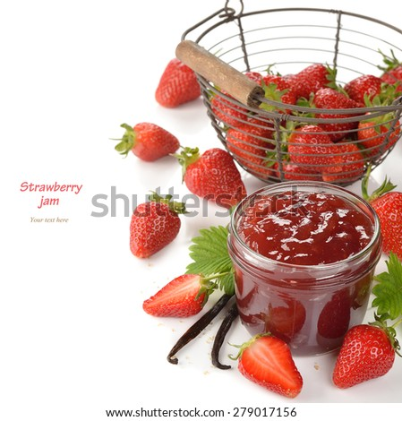 Strawberry jam with vanilla on a white background - stock photo