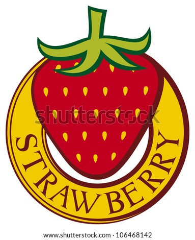 strawberry label design (strawberry symbol) - stock photo