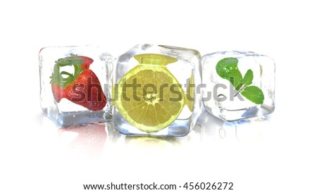 Strawberry lemon and a mint leaf into fresh ice cubes. 3D Rendering