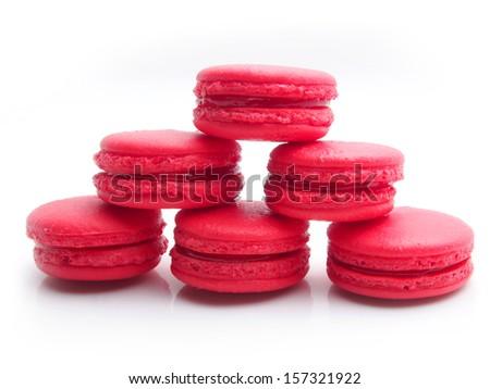 Strawberry macaron in white background - stock photo