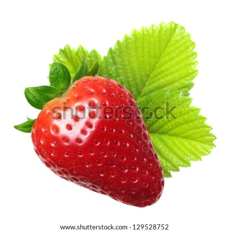 Strawberry macro with leaves isolated on white - stock photo