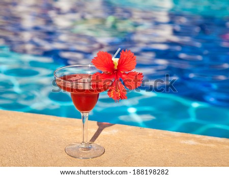 Strawberry margarita cocktail drink with hibiscus flower at the edge of the swimming pool. - stock photo