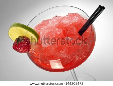 Strawberry margarita cocktail on gray  background - stock photo