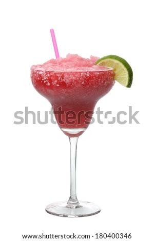 Strawberry margarita drink cutout, isolated on white background - stock photo