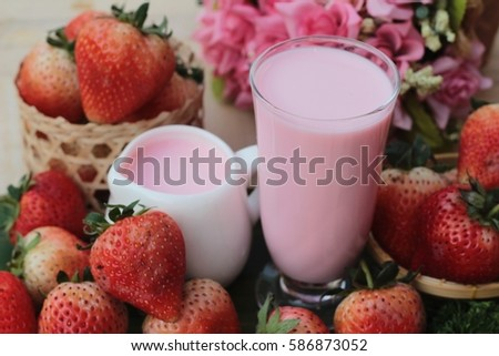 strawberry milk is delicious and fresh strawberry
