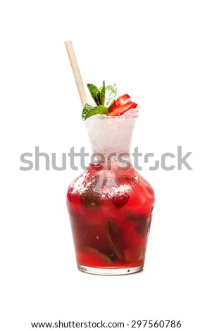 strawberry mojito cocktail at carafe on white background - stock photo