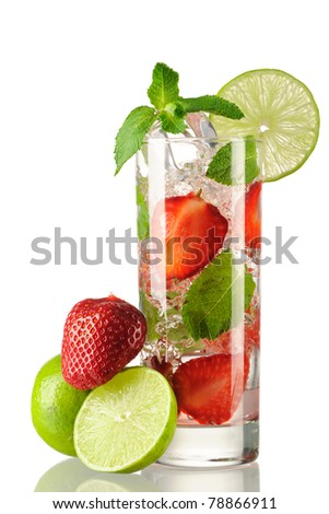 Strawberry mojito cocktail isolated on white - stock photo