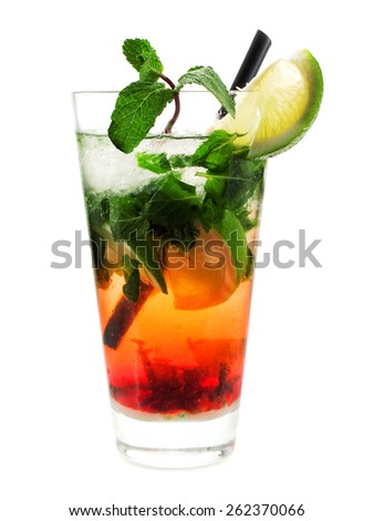Strawberry Mojito cocktail isolated on white background - stock photo
