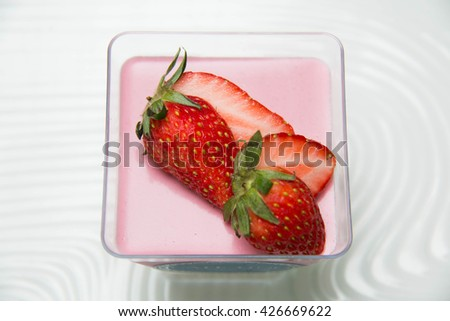 Strawberry mousse cake on the white background