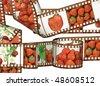 Strawberry  negative - stock photo