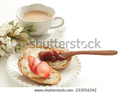 Strawberry on french bread for preparing jam and fruit sandwich  - stock photo