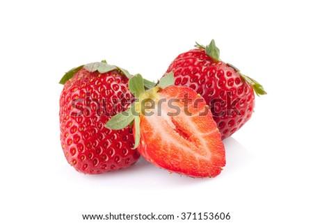 Strawberry on white background. - stock photo
