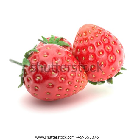 Strawberry on white background. 3d illustration
