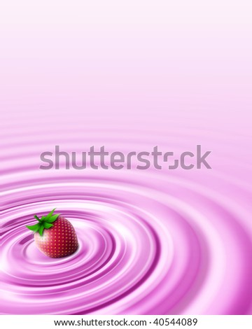 Strawberry pudding - stock photo