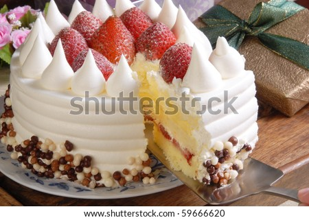 Strawberry pudding cake