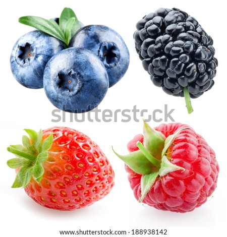 Strawberry, raspberry, blueberry, mulberry isolated on white - stock photo
