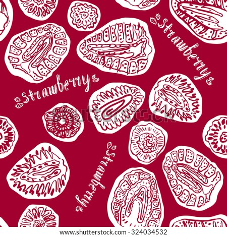 Strawberry red and white hand drawn vintage seamless pattern. Doodle raster version