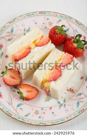 Strawberry Sandwich with Whipped Cream and Custard (Japanese Recipe) - stock photo