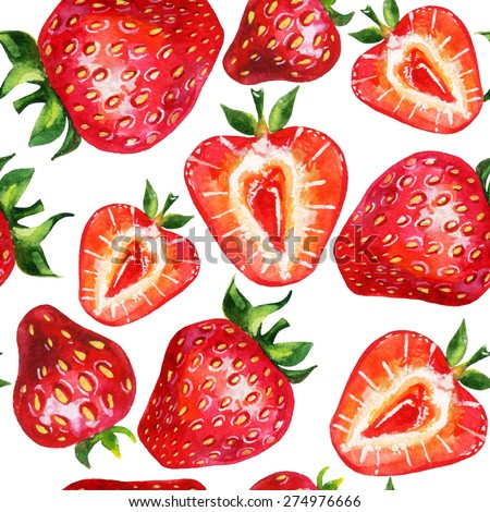 Strawberry seamless pattern. Hand drawn illustration of berries  on white background - stock photo