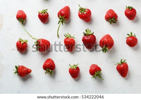 Strawberry set on white background, food top view