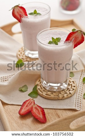 Strawberry shake on a tray
