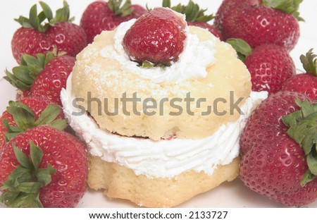 Strawberry Shortcake Pastry surrounded by strawberries - stock photo