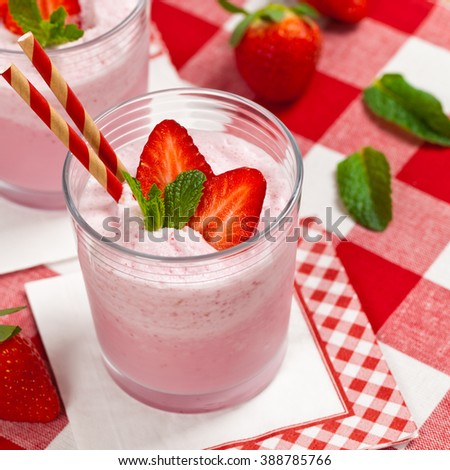 Strawberry Smoothie. Selective focus.