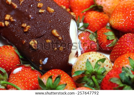 Strawberry sweet and delicious ice cream. - stock photo