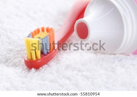 strawberry tooth paste - stock photo