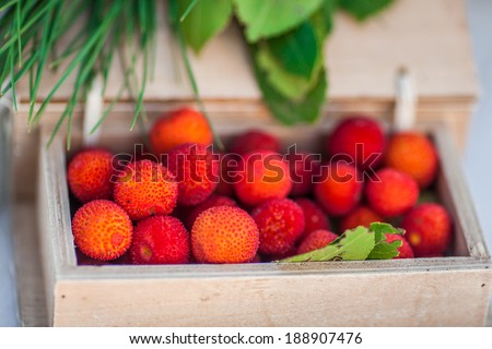 Strawberry tree fruits placed in a wooden box - stock photo
