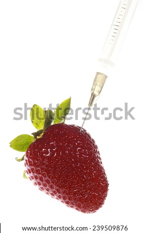 Strawberry with a needle symbolising genetically modified organism - stock photo