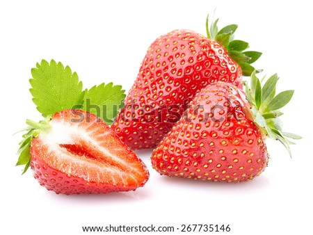 Strawberry with leaf - stock photo