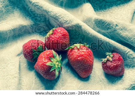 Strawberry with retro filter - stock photo