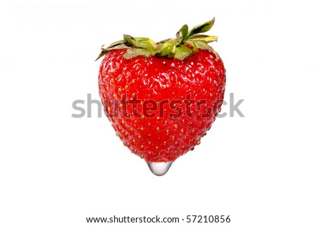 Strawberry with water drop - stock photo