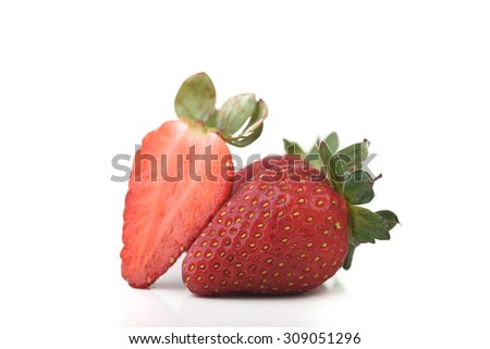 Strawberry with white isolated