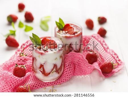 Strawberry yogurt dessert - stock photo