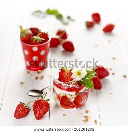 Strawberry yogurt parfait. Delicious and healthy dessert - stock photo