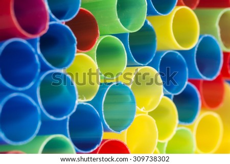straws colored - stock photo
