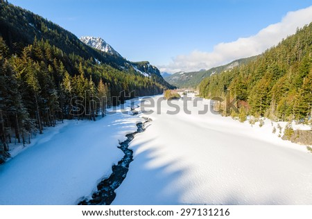 Stream and Valley at Mount Rainier National Park - stock photo
