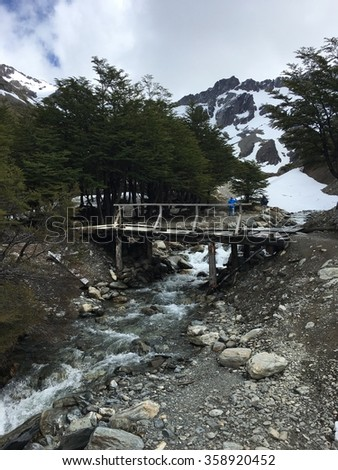 Stream by the Martial Glacier in Ushuaia, Argentina - stock photo