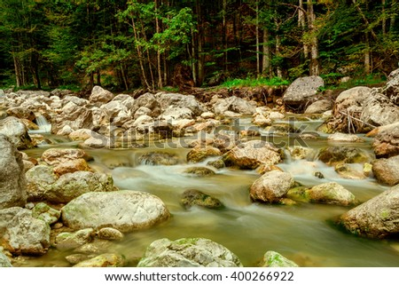 stream in the mountains in the national park Hohe Tauern in Austria. - stock photo