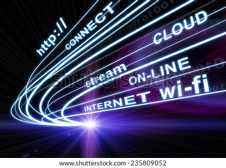 Stream of light beams with inscribed binary code and words http, connect, cloud, stream, on-line, internet, wi-fi on dark background. Communication concept. - stock photo