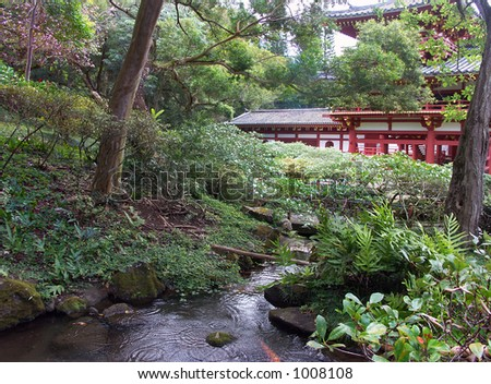 Stream on the grounds of Byodo-In Temple - stock photo