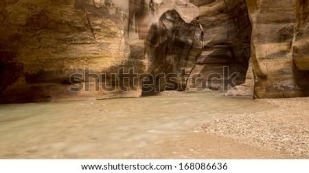 Stream river flowing in Wadi Mujib Nature park - stock photo
